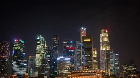 prominent : SINGAPORE - CIRCA JAN 2015: Night Time Cityscape in Downtown Singapore. Video 4k Stock Footage