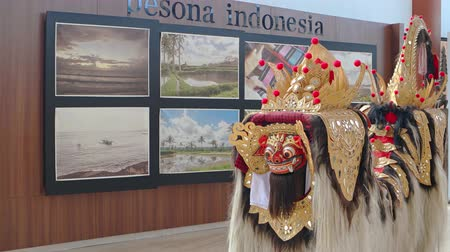 boletim informativo : BALI. INDONESIA - CIRCA JUL 2015: Traditional Dragon Costume on Display at Taman Nusa Indonesian Cultural Park Stock Footage