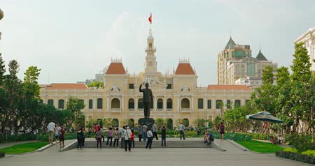 chi : HO CHI MINH CITY. VIETNAM - CIRCA JAN 2016: Ho Chi Minh City city hall. Shot with panning Stock Footage