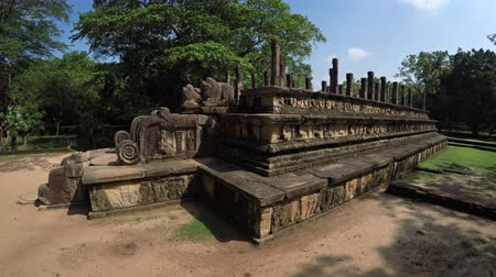 polonnaruwa : Ancient stone ruins of King Nissankamallas council chamber. with intricate relief carvings. in Polonnaruwa. Sri Lanka. an important historical capital.