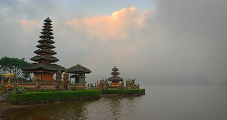 danu : Surreal. timelapse abstract of Pura Ulun Danu Bratan. an important. Shivaite water temple on the island of Bali. Indonesia. 4k video Stock Footage