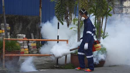 komary : GEORGE TOWN. PENANG. MALAYSIA - CIRCA MAY 2017: Local worker fumigating along a city street to stop mosquitos and the spread of Dengue Fever. FullHD 1080p video