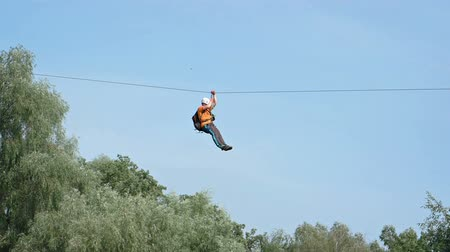 лиса : Zip-line - best fun for thrill-seekers. Video FullHD 1080p