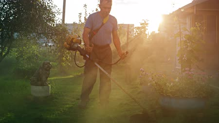 oblouky : Early morning sunshine filters through the dust as a gardeners string trimmer kicks up shredded grass debris. UltraHD 4k video with sound.