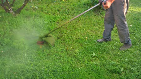 oblouky : Shredded grass debris sprays everywhere as a gardener swings a gas powered string trimmer in wide arcs. UltraHD 4k video with sound.