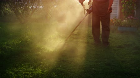 oblouky : Early morning sunshine illuminates a cloud of dust kicked up by a gardeners string trimmer as he cuts the grass. UltraHD 4k video with sound. Dostupné videozáznamy