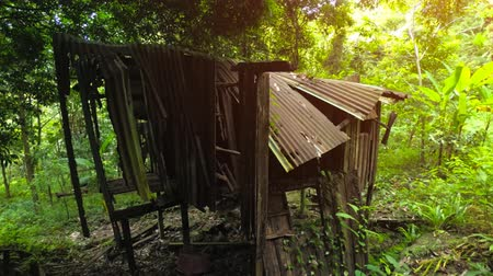 improvised : Abandoned and tumbledown hut with corrugated steel roof. on a rural rubber plantation in Phuket. Thailand. 4k video with sound.
