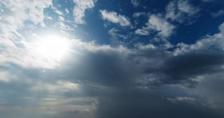 göz kamaştırıcı : Timelapse of the summer sky with dazzling rays of the sun