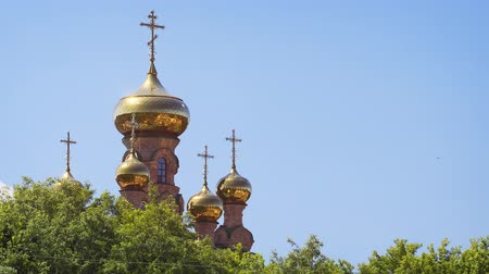 cruzes : Shiny. golden domes and ornate crosses of Sviato-Pokrovskyi Golosiive Monastery. a cultural landmark in Kiev. Ukraine. Video FullHD Vídeos