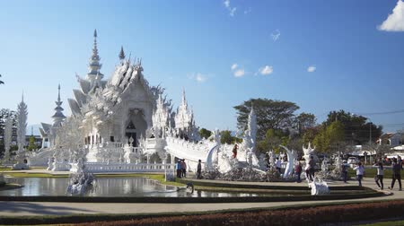 intricate : CHIANG RAI. THAILAND - JAN 2018: Wat Rong Khun. the White Temple. Thailand. Static 4k video shot