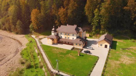 UKRAINE. YAREMCHE - SEP 2018: Redemptorist Retreat and Recreation Center from Drone Perspective
