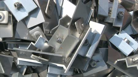 rakás : Pile of pre-assembled fittings for solar power plant pannels. Stock mozgókép