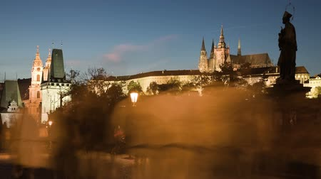 tower bridge : Dusk on Charles bridge with ghosts. Time lapse, static, 30fps.