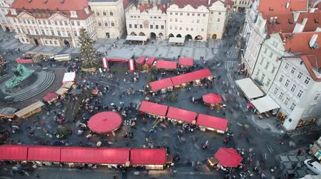 Marché de Noël à Prague. Time lapse, 30fps, statique.