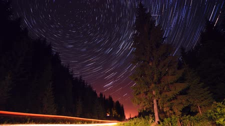 trilha : Star trails in the mountains forest road - moving stars timelapse