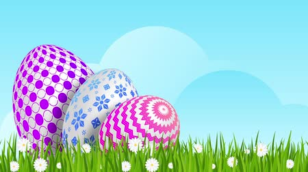 camomila : Easter eggs on green grass with daisies.