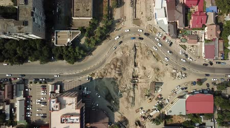 krasnodar city : Aerial drone footage of the street in the center of Krasnodar city, Russia. Drone view of repair the road ring. Stock Footage