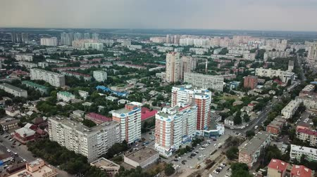 órák : Russia, Krasnodar July 06 2018 City buildings, parkland, overhead aerial view from drone.