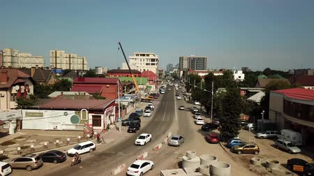 krasnodar city : Aerial drone footage of street road  in the center of Krasnodar city, Russia. Drone view of repair the road ring. Stock Footage