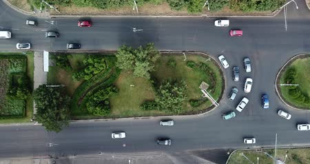 krasnodar region : Aerial Drone Flight View footage of freeway city traffic jam. Top down view from drone.