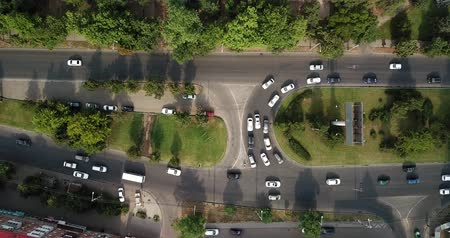 krasnodar city : Aerial Drone Flight View footage of freeway city traffic jam. Top down view from drone.