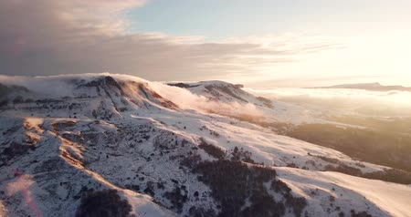 Beautiful Mountain Sunset Winter Mountain Landscape Stock Footage
