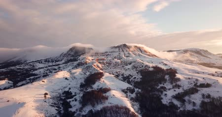 Idyllic Landscape Snow Covered Mountains Drone Footage Winter Nature