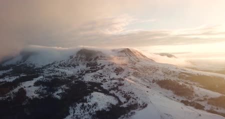 Beautiful Mountain Range Winter Landscape Clouds Aerial Flight Footage Over Peaks Epic Panorama