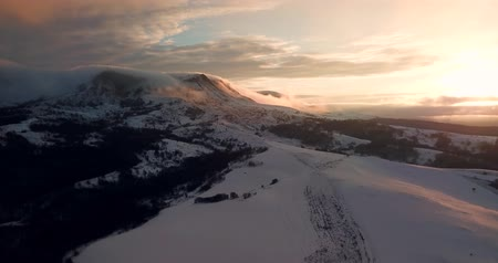 AERIAL View of avalanche on Tordrillo snowy mountain peak  Psebai, Russia