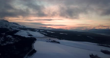 Beautiful Winter Nature Aerial Footage Of Sunrise In The Mountains