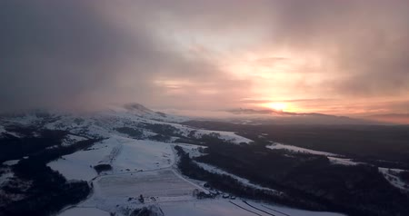 Beautiful Winter Nature Aerial Footage Of Sunset In The Mountains
