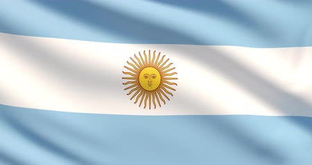 The flag of Argentina. Waved highly detailed fabric texture.