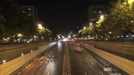 ограждение : urban highway street named Castellana at Madrid city Spain