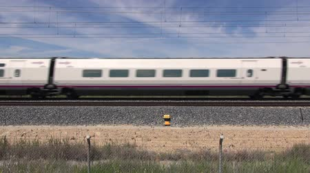 prędkość : railway with high speed train at a landscape in Spain