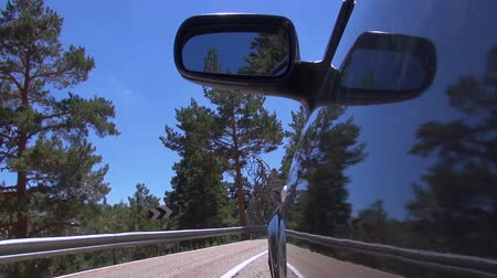 аллея : side dark grey car driving on lonely asphalt rural road with painted white line lane between pine trees in mountain forest near Madrid Spain Europe Стоковые видеозаписи