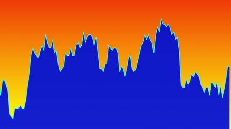 candlestick : Blue line graph on orange background chart of stock market investment trading.