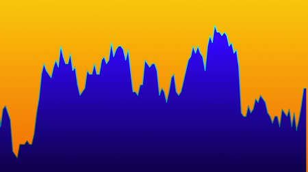 tendency : Blue line graph on orange background chart of stock market investment trading.