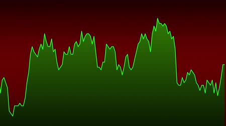 green line graph on red background chart of stock market investment trading.