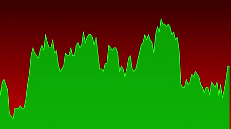 candlestick : green line graph on red background chart of stock market investment trading.