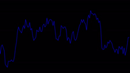 rali : blue line graph on black background chart of stock market investment trading.
