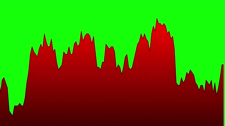 red line graph on green background chart of stock market investment trading.