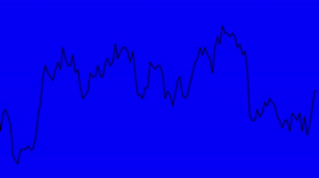 blue line graph on blue background chart of stock market investment trading. Stok Video