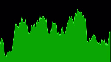 green line graph on black background chart of stock market investment trading.