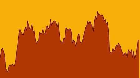 black line graph on orange background chart of stock market investment trading.