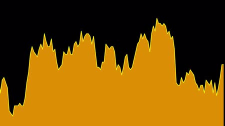 tendency : orange line graph on black background chart of stock market investment trading.