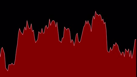 ralli : red line graph on black background chart of stock market investment trading. Stok Video