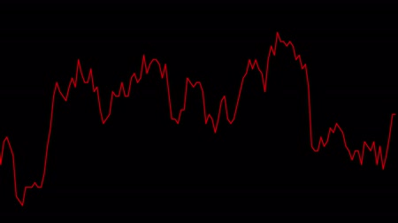 red line graph on black background chart of stock market investment trading. Stok Video