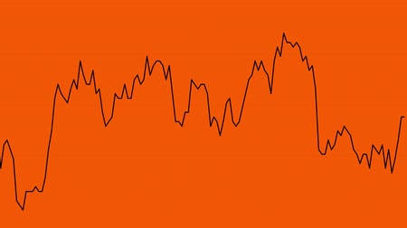 tendency : black line graph on orange background chart of stock market investment trading.