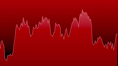 red line graph on red background chart of stock market investment trading. Stok Video