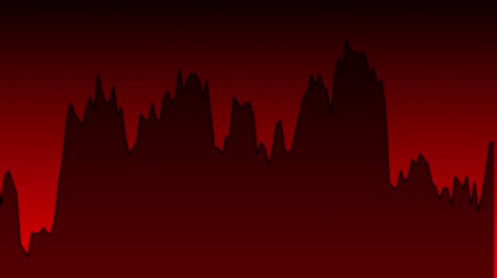 black line graph on red background chart of stock market investment trading.